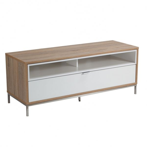 Alphason Chaplin 1135mm white and Light oak stand