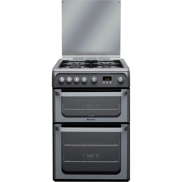 Hotpoint HUG61G Graphite gas 60cm double cooker