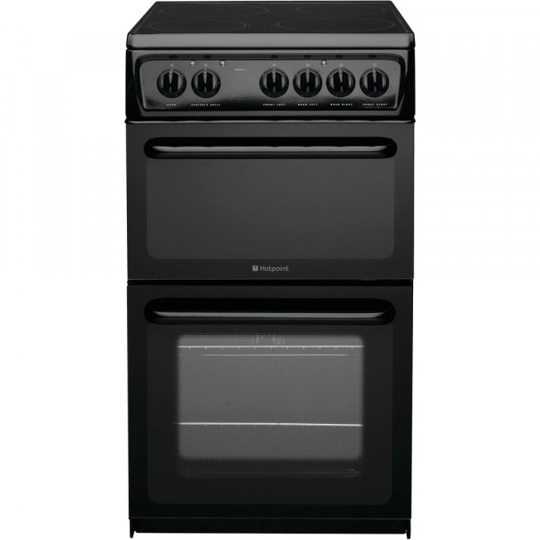 Hotpoint HAE51KS 50cm Twin Cavity electric cooker in Black