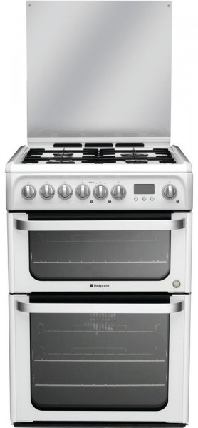 Hotpoint HUD61PS Double Oven Dual Fuel Cooker In white