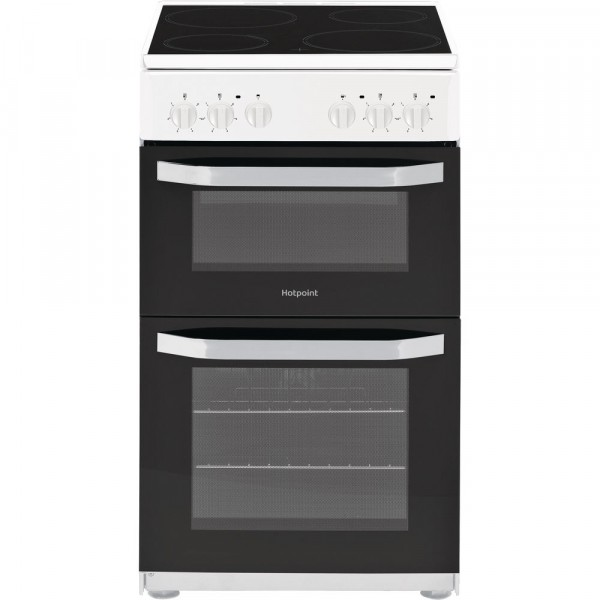 Hotpoint HD5V92KCW 50cm Twin Cavity Electric cooker in White