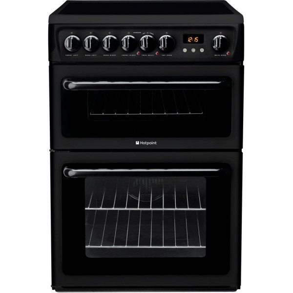 Hotpoint HAE60KS 60cm Double electric cooker in black