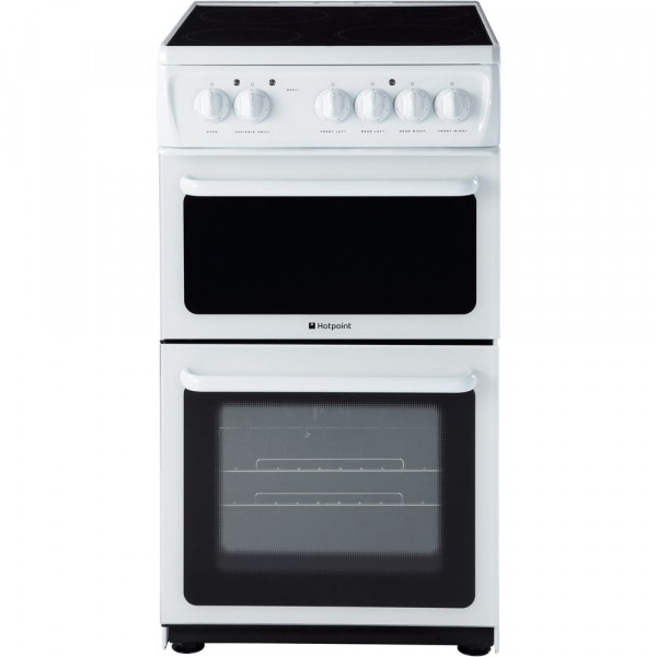 Hotpoint HAE51PS 50cm Twin Cavity electric cooker in White