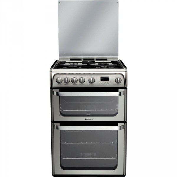 Hotpoint HUG61X Stainless steel gas 60cm double cooker