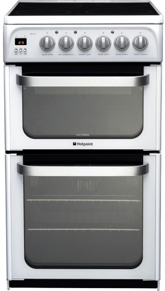 Hotpoint HUE52PS white double cooker in white