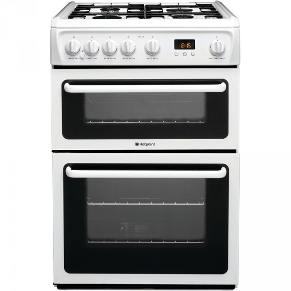 Hotpoint HAG60P 60cm gas double oven in white