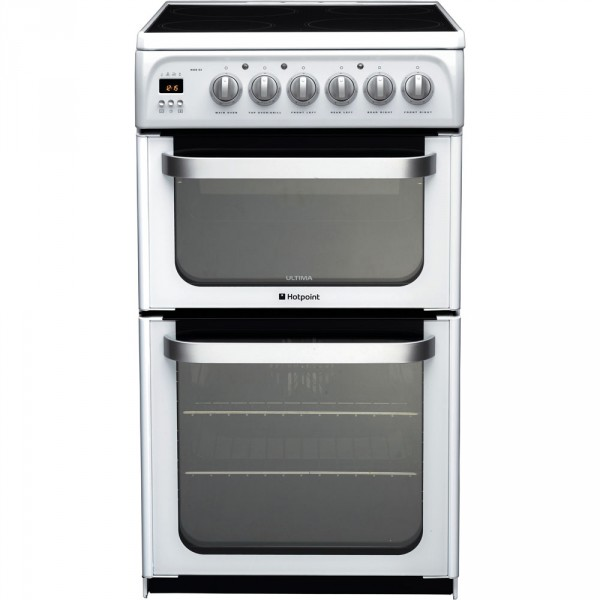 Hotpoint HUE53PS white double cooker in white