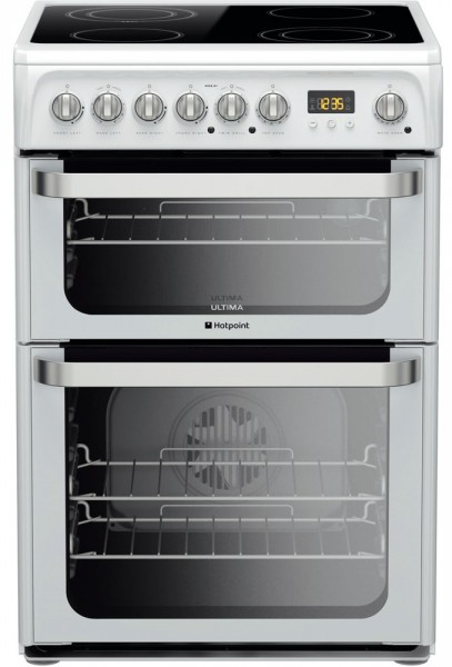 Hotpoint HUE61PS 60cm Double electric cooker in white