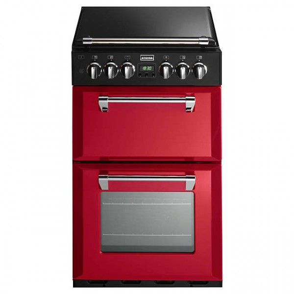 Stoves ST 550DFW 55cm Dual Fuel cooker in Red
