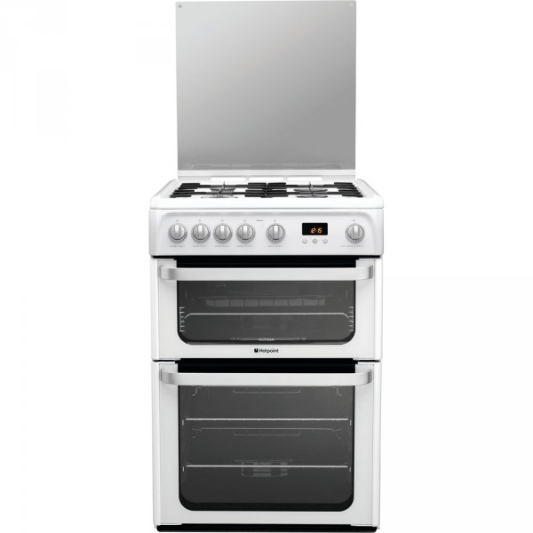 Hotpoint HUG61P White gas 60cm double cooker