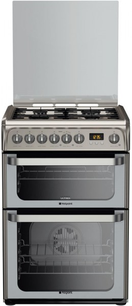 Hotpoint HUD61XS Double Oven Dual Fuel Cooker In Stainless steel
