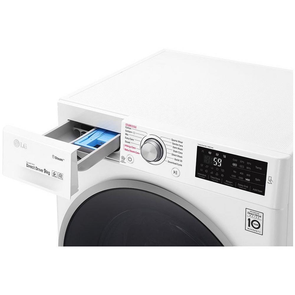 LG F4J609WS 1400 Spin 9kg Steam Washing Machine