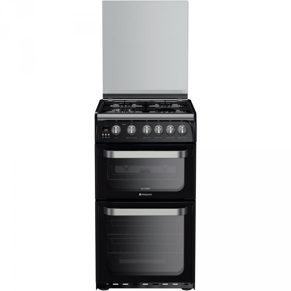 Hotpoint HUG52K Black 50cm double Gas cooker