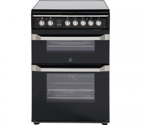 Indesit ID60C2KS 60cm Black Double oven Cooker