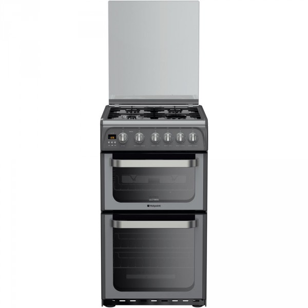 Hotpoint HUG52G graphite 50cm double electric cooker