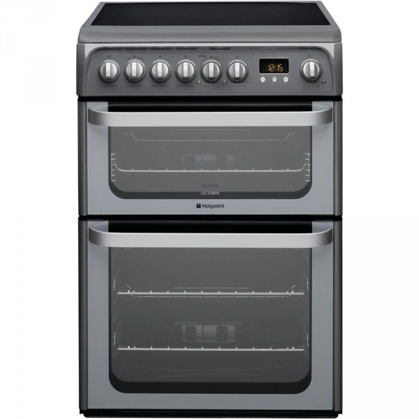 Hotpoint HUE61G 60cm Double electric cooker in Graphite