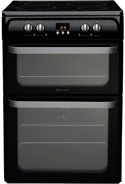 Hotpoint HUI614K Double oven with induction hob in black