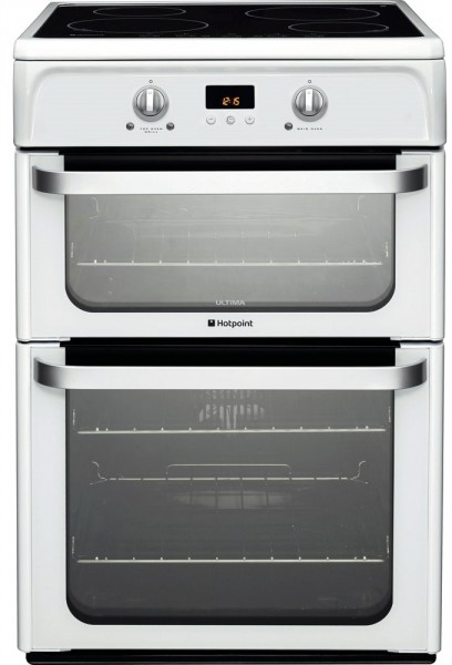 Hotpoint HUI612P Double oven with induction hob in white