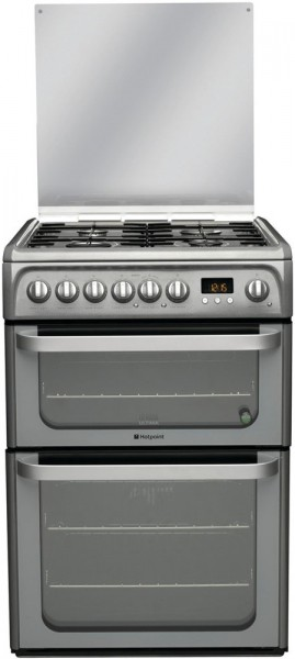 Hotpoint HUD61GS Double Oven Dual Fuel Cooker In Graphite