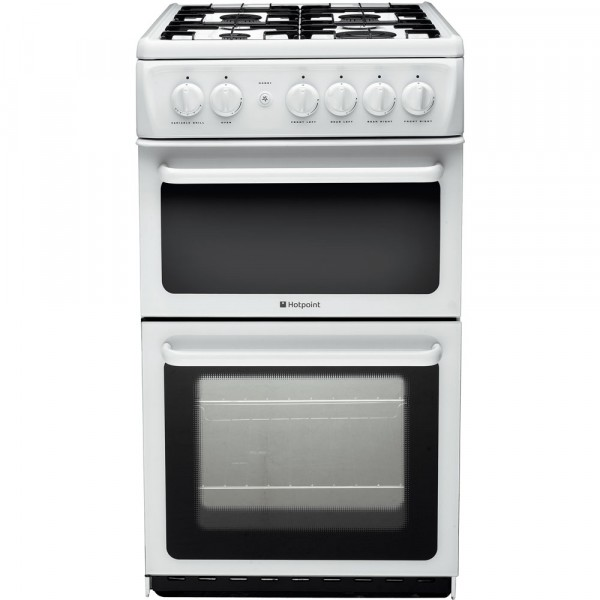 Hotpoint HAG51P 50cm Twin Cavity cooker in white