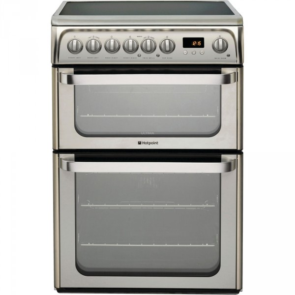 Hotpoint HUE61X 60cm Double electric cooker in Stainless steel