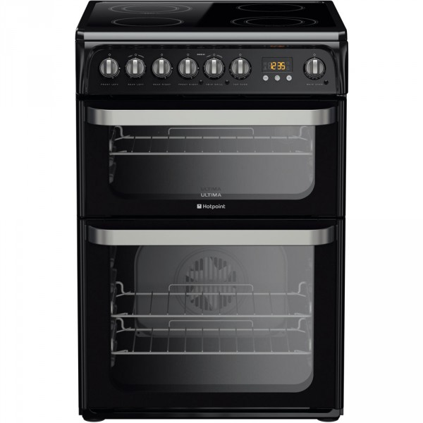 Hotpoint HUE61KS Double electric cooker in black