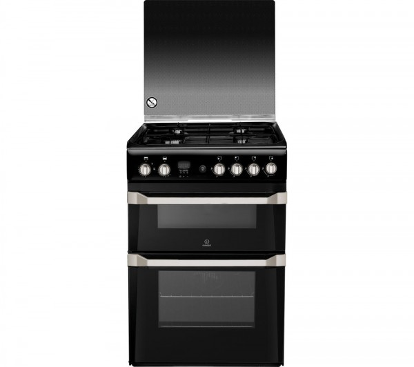 Indesit ID60G2K 60cm Black Double oven Gas Cooker