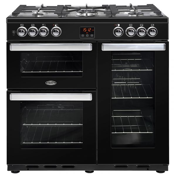 BELLING 90DFT-BLK 90CM DUAL FUEL COOKCENTRE RANGE BLACK