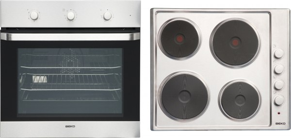 Beko OSF22110X Single Oven & Solid Hob Pack