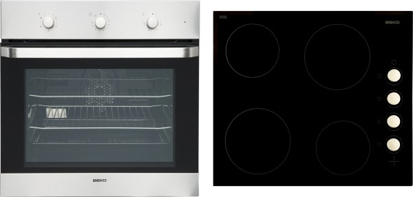 Beko OSF22120X Single Oven & Ceramic Hob Pack