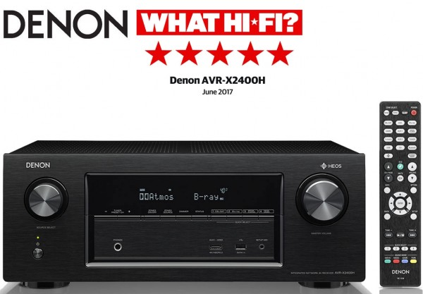 Denon AVR-X2400H 7.2 channel AV Surround Receiver with built-in HEOS technology | Black