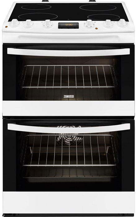 zanussi zcv68300wa 60cm wide electric cooker with ceramic glass hob rh sherwoods ie