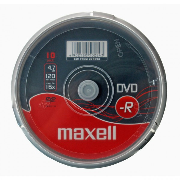 Maxell DVD-R 4.7GB 16X Data Video 10 Disc Spindle