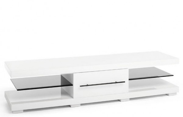 TechLink ECI50WT 'Echo' Range TV Stand for Screens up to 75' | High Gloss Brilliant White