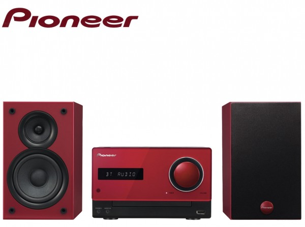 Pioneer X-CM35BTR Hi-Fi Micro-System with CD, UKW-MW Tuner, Bluetooth, NFC and USB | Red