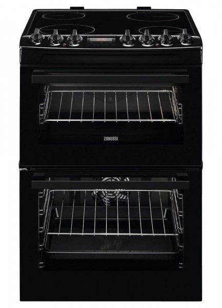 Zanussi ZCV69350 60cm Electric Hob Double Oven | Black