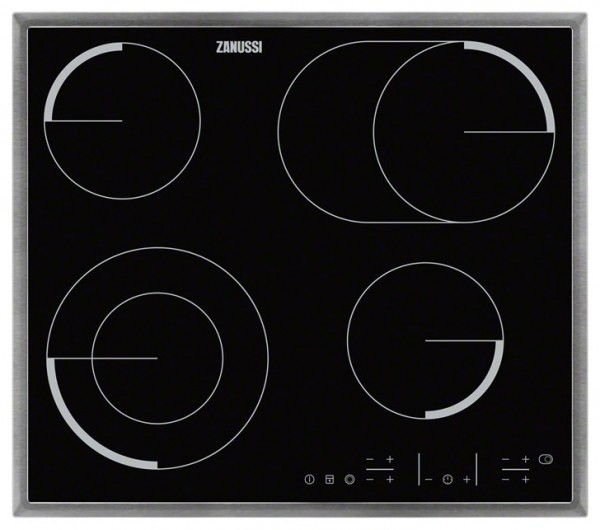 Zanussi ZEV6646XBA Touch Control Electric Ceramic Hob | Black & Stainless Steel