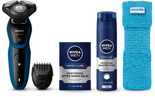 Philips S5073 AquaTouch Wet & Dry Electric Shaver Nivea Gift Pack