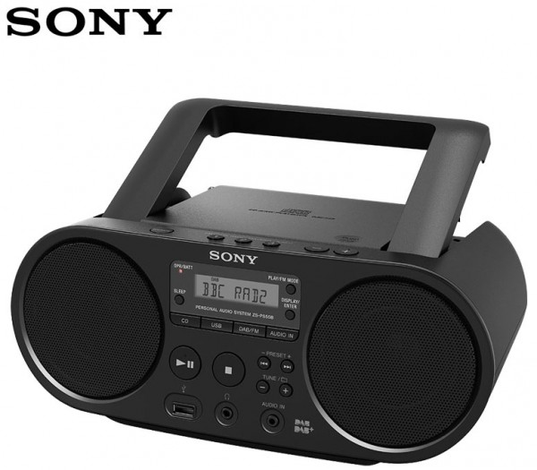 Sony ZS-PS55B CD Boombox with DAB/FM Radio USB playback and AUX input.