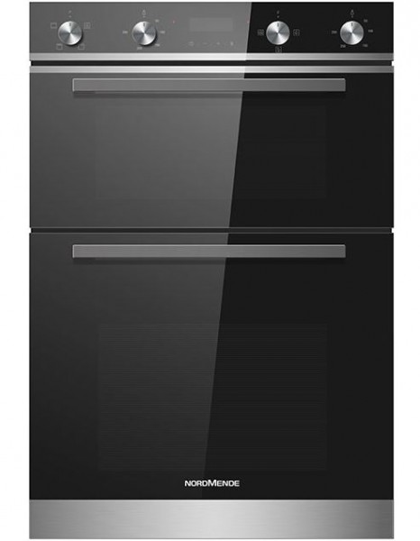 NordMende DOIC415IX Built-In Double Oven | Stainless Steel/Black Glass