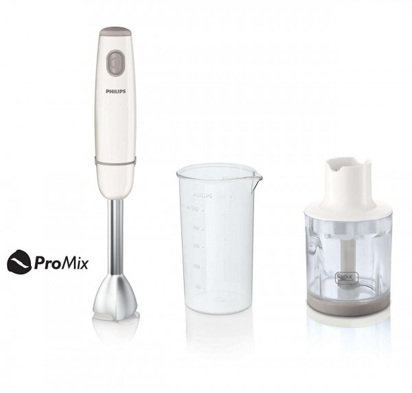 Philips HR1605 'Daily Collection' 550 Watt Metal Bar Hand Blender & Compact Chopper | White