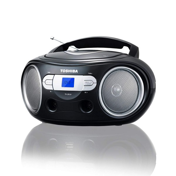 Toshiba TY-CRS9 Portable CD Boombox with AM/FM Stereo & Aux Input | Black