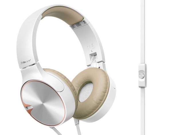 Pioneer SE-MJ722T-T Extreme Bass Headphones | White/Brown