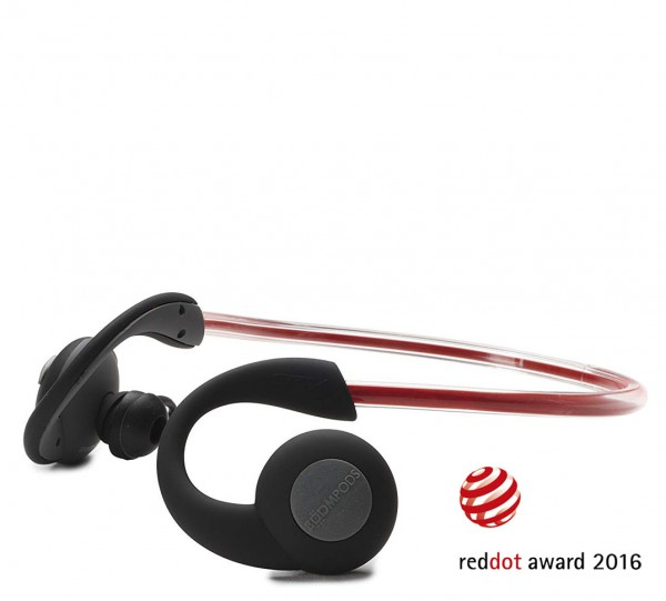 Boompods SPVDRG Sportspods Vision Bluetooth Headphones | Dark Grey & Red