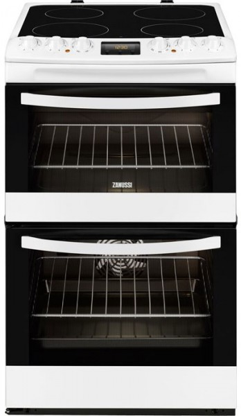 Zanussi ZCV48300WA 55cm Wide Electric Cooker with Ceramic Glass Hob | Whtie