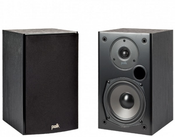 Polk T15 Home Theater and Music Bookshelf Speakers Pair | Black