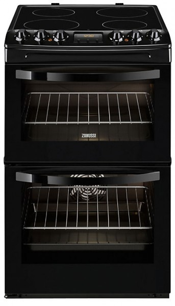 Zanussi ZCV48300BA 55cm Wide Electric Cooker with Ceramic Glass Hob | Black
