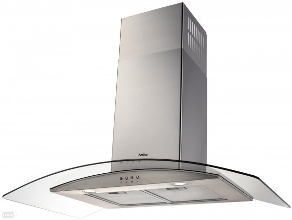 Amica OKP931G 90cm Chimney Hood | Curved Glass & Stainless Steel