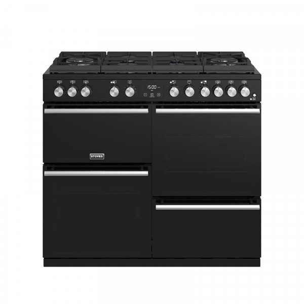 Stoves Precision Deluxe S1000DF GTG Blk Dual Fuel Range Cooker