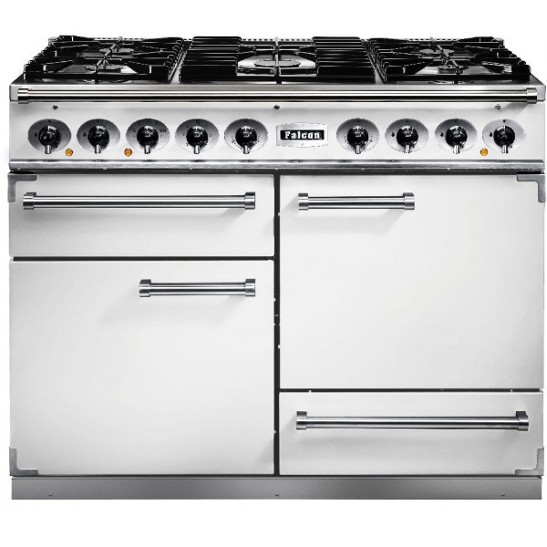 Falcon 1092 DX DF White Nickel 82300 Dual Fuel Range Cooker